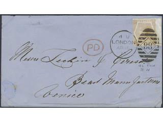 Britain. Michel 38 cover , 1872 Queen Victoria wmk Spray of Rose 6 d chestnut, watermark …