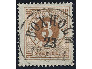 Sweden. Facit 17e used , 3 öre orange-brown. Superb–EXCELLENT cancellation BOXHOLM …