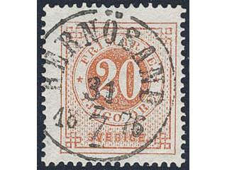 Sweden. Facit 22h used , 20 öre brick red. EXCELLENT cancellation HERNÖSAND 31.7.1876.