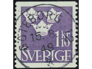 Sweden. Facit 296 used , 1948 Three Crowns 1.10 Kr violet. EXCELLENT cancellation …