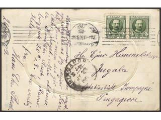Denmark. Facit 69 cover , 2x5 øre on postcard sent from KJØBENHAVN 26.6.09 to Singapore, …