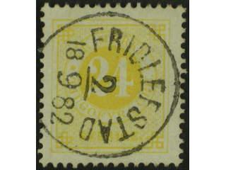 Sweden. Facit 34d, K county. FRIDLEFSTAD 2.9.1882. One slightly short perf.
