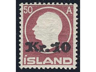 Iceland. Facit 122 ★ , 1925 Surcharge 10 Kr / 50 aur brown-lilac. SEK2500