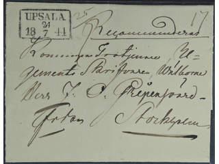 Sweden. C county. UPSALA 24.7.1844, rectangular postmark. Type 1 on beautiful registered …
