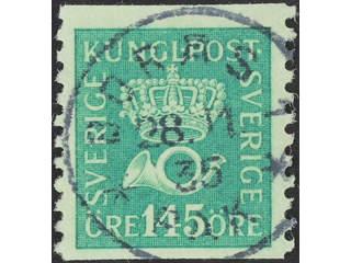 Sweden. Facit 174 used , 145 öre yellow-green. EXCELLENT cancellation BORÅS 1 28.11.35.