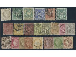 France. Used 1871-1877. All different, e.g. Mi 47, 58 I, 60 I, 63 I, 65 I, 57 II, 66 II, …