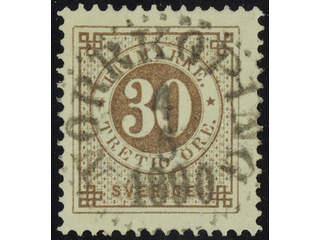 Sweden. Facit 47f used , 30 öre orange-brown. EXCELLENT cancellation NORRKÖPING 4.5.1890.