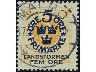 Sweden. Facit 105 used , 1916 Landstorm I 5+FEM / 2 öre  orange. EXCELLENT cancellation …