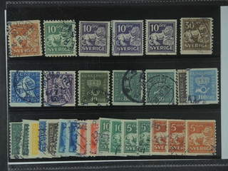 Sweden. Used 1920–36. Small coil stamps. All different, e.g. F 140Ccx, 141bz, 144Ccx, …