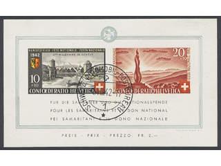Switzerland. Michel 410–11 used , 1942 Pro Patria souvenir sheet 7. EUR300