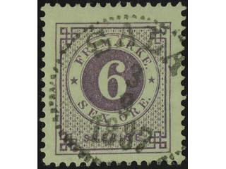 Sweden. Facit 31j used , 6 öre bluish lilac on calendered paper. EXCELLENT cancellation …