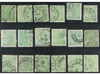 Sweden. Facit 7 used , 5 öre green, eighteen used copies. Shades, varieties, …