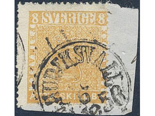 Sweden. Facit 4b on piece , 8 skill brownish orange. Cut piece cancelled HUDIKSVALL …