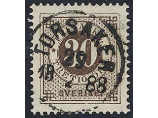 Sweden. Facit 47c used , 30 öre black-brown. EXCELLENT cancellation TORSÅKER 29.4.1888.