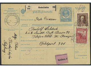Austria. Michel 173, 191 cover , 20+60 h as additional postage on postal stationery …