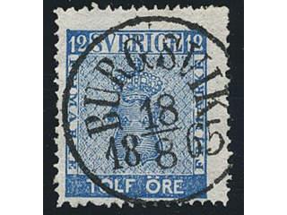 Sweden. Facit 9d2, I county. BURGSVIK 18.8.1865, circle cancellation. Some ink at back,. …