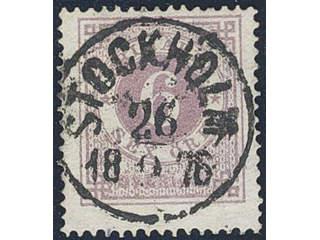 Sweden. Facit 20j used , 6 öre lilac. EXCELLENT cancellation STOCKHOLM 26.2.1876. One …