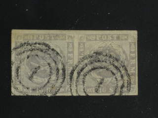 """Denmark. Facit 6 used , 1857 Skilling 16S. grey-violet in beautiful pair cancelled """"1"""". …"""