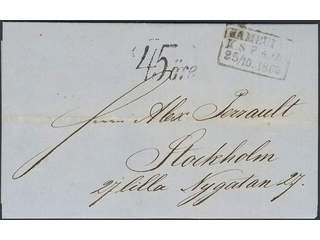 Sweden. Postage due mail. Postage due cancellation 45ÖRE on cover sent from HAMBURG …