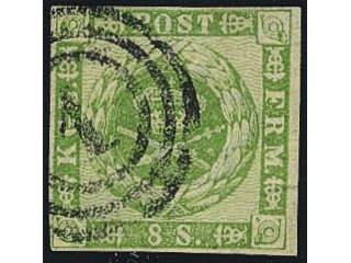 Denmark. Facit 8 used , 1858 Otandade, våglinjerad bakgrund 8S grön. SEK1400