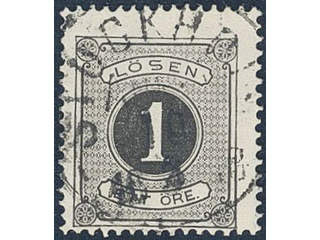 Sweden. Postage due Facit L1 used , 1 öre black, perf 14. EXCELLENT cancellation …