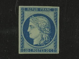 France. Michel Y8f (★) , 1862 Reprint 20C blue. Opinion Calves. EUR360