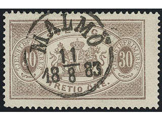 Sweden. Official Facit Tj21 used , 30 öre brown, perf 13. EXCELLENT cancellation MALMÖ …
