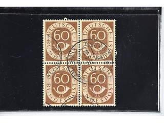 Germany GFR (BRD). Michel 135 used , 1951 Posthorn 60 pfg sienna. In block of four, EUR …