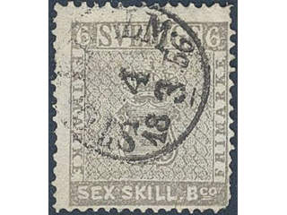 Sweden. Facit 3a1 used , 6 skill grey on thin paper. Cancelled STOCKHOLM 4.3.1856. Thin …