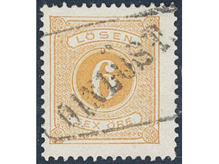 Sweden. Postage due Facit L14a used , 6 öre orange, perf 13. EXCELLENT cancellation …