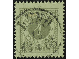 Sweden. Facit 29e used , 4 öre deep grey-grey on calendered paper. EXCELLENT …