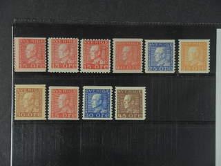 Sweden. ★★ 1921-36. GV Coilstamps. All different, e.g. F 176A, 177C, 177Cc, 180a, 183b, …