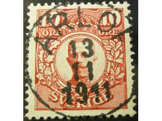 Sweden. Facit 82 used , 10 öre red. EXCELLENT cancellation ARLÖF 13.11.1911.
