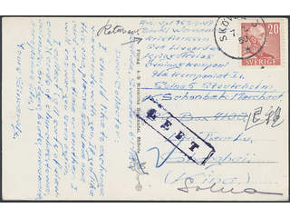 China Incoming mail. Michel 276A cover , Sweden. 20 öre on postcard sent from SKÖVDE 3 …