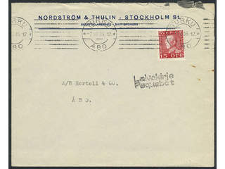 Sweden. Facit 177A. FINLAND. Finnish cancellations TURKU ÅBO 7.VII.35 and LAIVAKIRJE …