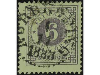 Sweden. Facit 31h used , 6 öre bluish lilac on soft paper. Superb cancellation …