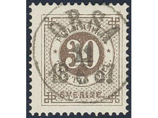 Sweden. Facit 47a used , 30 öre olivish brown. EXCELLENT cancellation ORSA 11.6.1887.