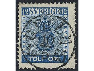 Sweden. Facit 9c2 used , 12 öre blue. EXCELLENT cancellation GEFLE 10.5.1865.
