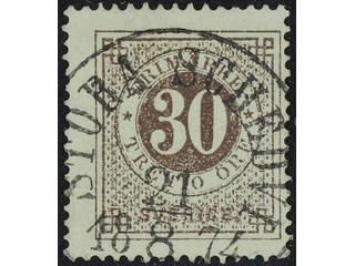 Sweden. Facit 25i used , 30 öre greyish brown, light framing. EXCELLENT cancellation …