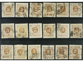 Sweden. Facit 41 used , 3 öre brown, eighteen used copies. Shades, varieties, …