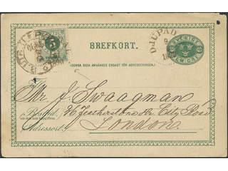 Sweden. Facit 43, bKe7, K county. DJUPADAL 9.6.1890. Postcard 5 öre additionally franked …