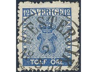 Sweden. Facit 9c2 used , 12 öre blue. EXCELLENT cancellation WESTERVIK 2.5.1864.