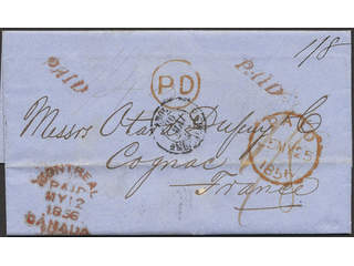 Canada. Prephilately. Pre-philatelic pre-paid cover from Montreal MY12 1856 sent to …