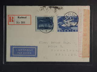 Sweden. Air mail cover Facit 258, 231 , 10+50 öre on censored registered air mail cover …