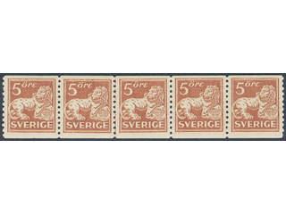 Sweden. Facit 142Aa ★★/★ , 5 öre brown-red, type II in very fine strip of five. One …