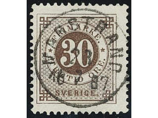 Sweden. Facit 47 used , 30 öre brown. EXCELLENT cancellation MARSTRAND 28.7.1887. Small …