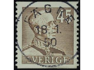 Sweden. Facit 282 used , 1940 Gustaf V large numerals 45 öre brown. EXCELLENT …