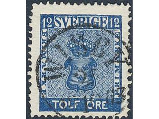 Sweden. Facit 9b2 used , 12 öre dark blue. Superb cancellation WISBY 25.10.1863.