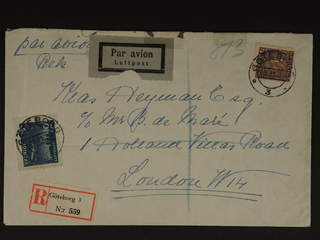 Sweden. Air mail cover Facit 191, 231 , 10+45 öre on registered air mail cover sent from …