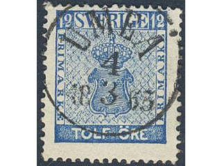 Sweden. Facit 9c1 used , 12 öre blue. EXCELLENT cancellation UMEÅ 4.3.1863. Small thin …